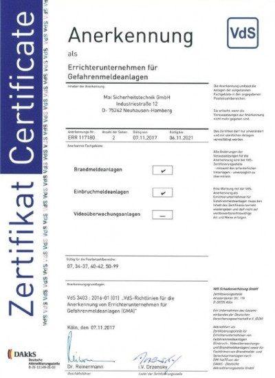 VdS-Zertifizierung für Gefahrenmeldeanlagen