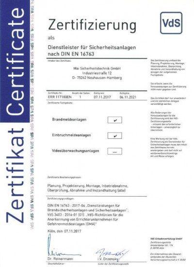 VdS-Zertifizierung für Sicherheitsanlagen nach DIN EN 16763