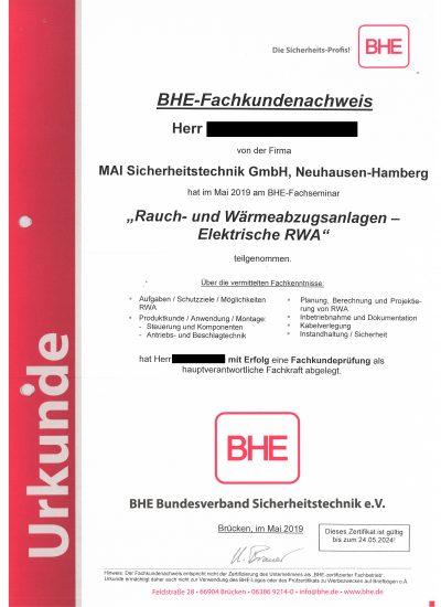 Hauptverantwortliche Fachkraft für Rauch- und Wärmeabzugsanlagen - Elektrische RWA