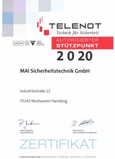 Autorisierter Telenot-Stützpunkt 2020