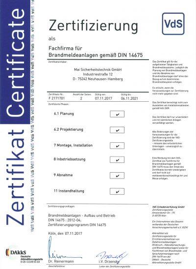 VdS-Zertifizierung für Brandmeldeanlagen nach DIN 14675
