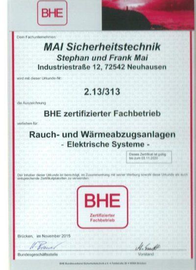 BHE-Zertifizierung für Elektrische Rauch- und Wärmeabzugsanlagen
