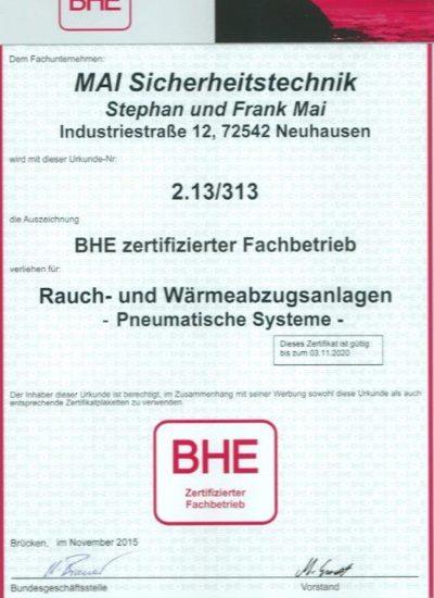 BHE-Zertifizierung für Pneumatische Rauch- und Wärmeabzugsanlagen